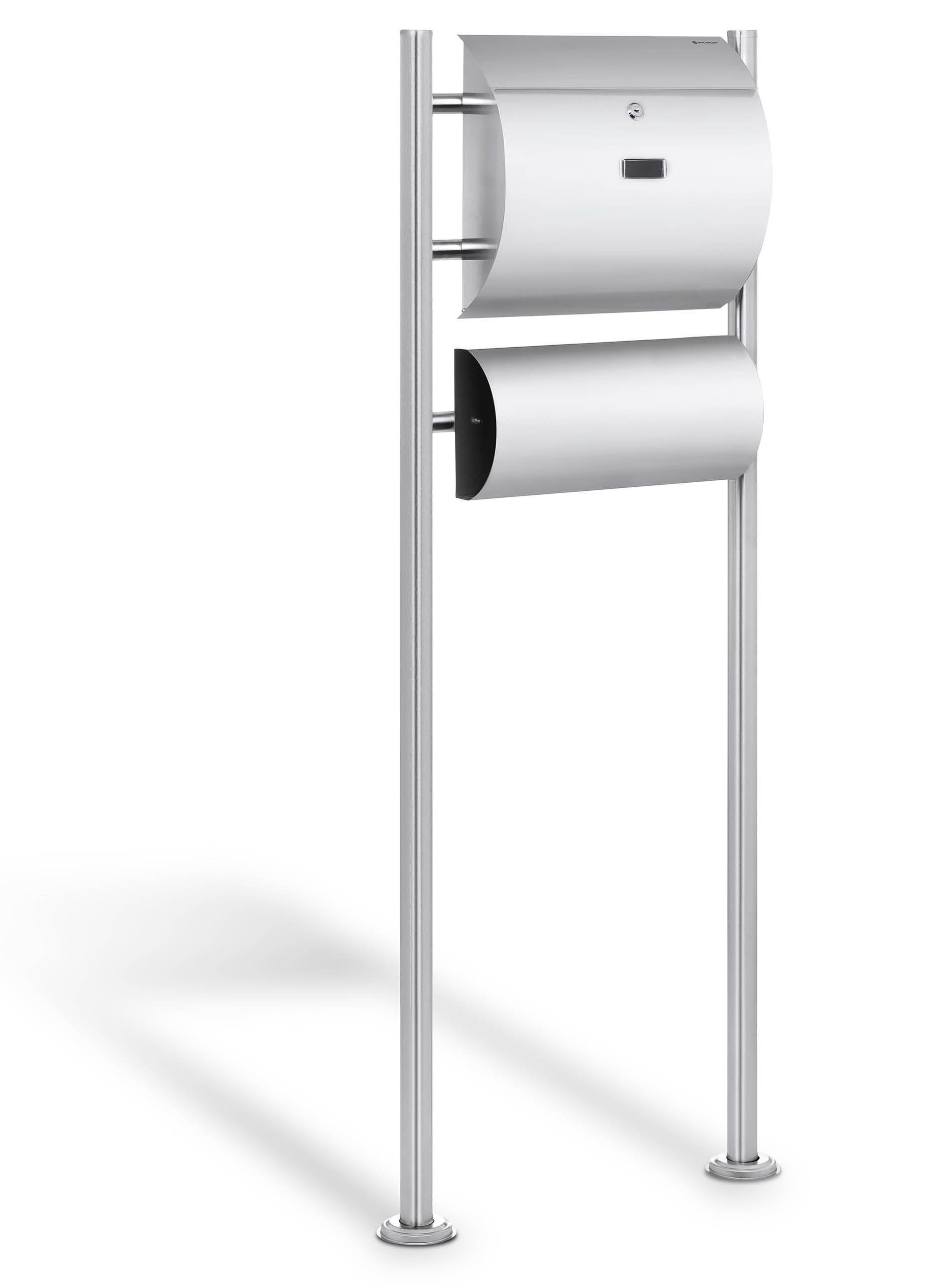 bartczak gelaender briefkasten edelstahl briefkasten mit zeitungsfach. Black Bedroom Furniture Sets. Home Design Ideas