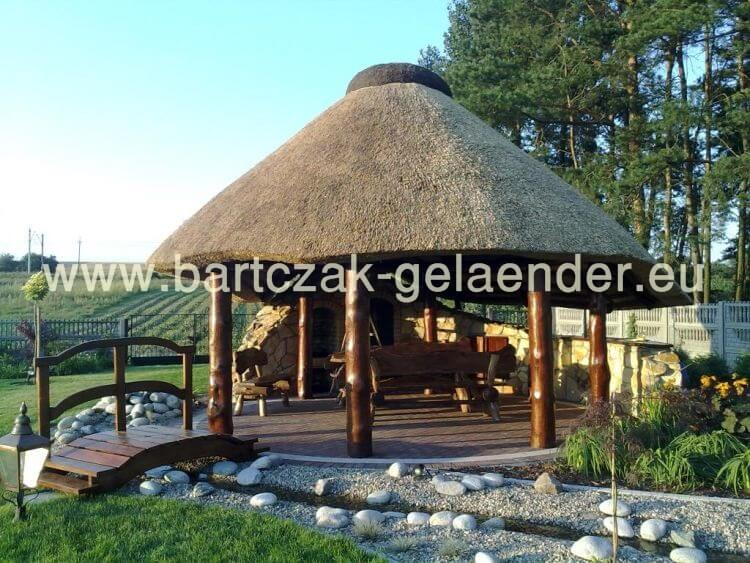 pavillon mit festem dach holz garten reetdach wetterfest metall g nstig aus polen. Black Bedroom Furniture Sets. Home Design Ideas